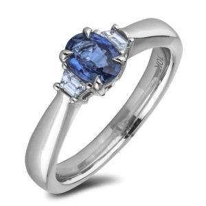 ssapphire & diamond trilogy ring