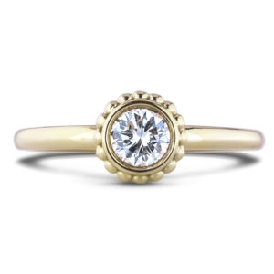 forevermark yellow gold diamond solitaire bezel ring