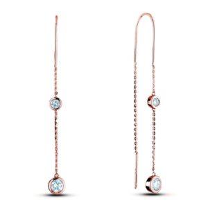 diamond two stone dangle threader earrings