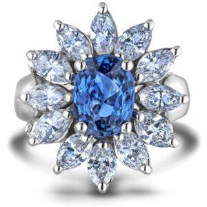 sapphire & diamond flower ring