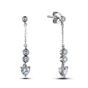 3 Stone Diamond Dangle Earrings