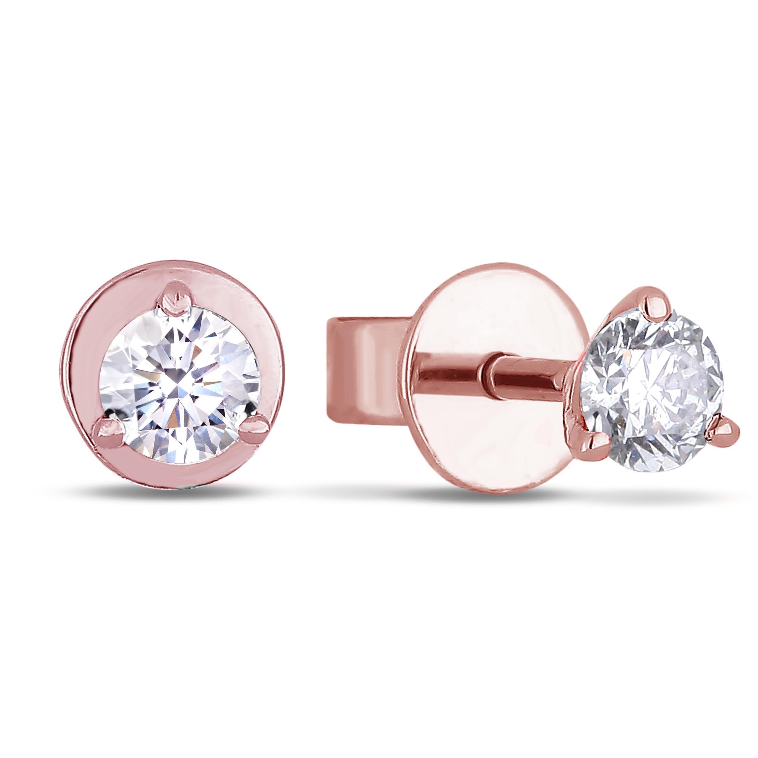 Diamond Stud Earrings In 14k Rose Gold Lugaro Jewellery