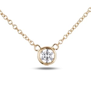 Round diamond soliatire necklace in yellow gold