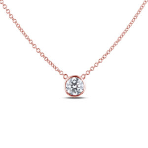 Canadian diamond solitaire necklace in rose gold