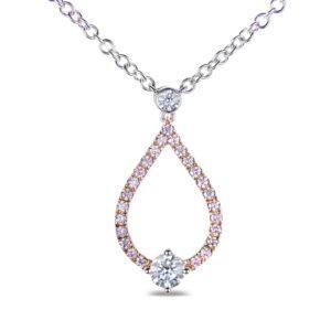 Diamond Drop Pendant in white & rose gold