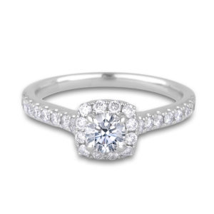 Diamond halo cushion frame engagement ring