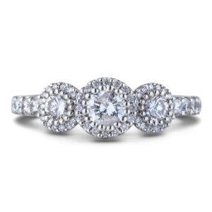 1ctw canadian diamond halo trilogy ring