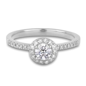 Canadian Round Diamond Halo Engagement Ring