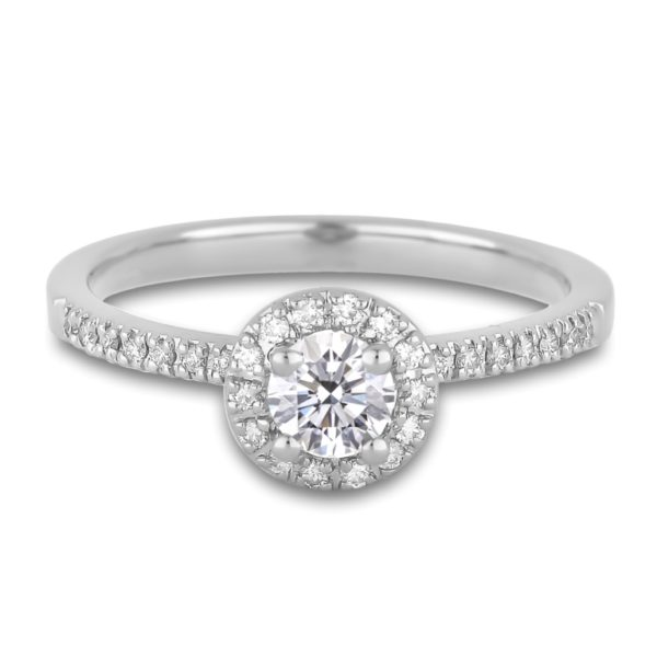 Canadian Round Diamond Halo Engagement Ring