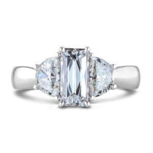 Emerald cut diamond trilogy ring