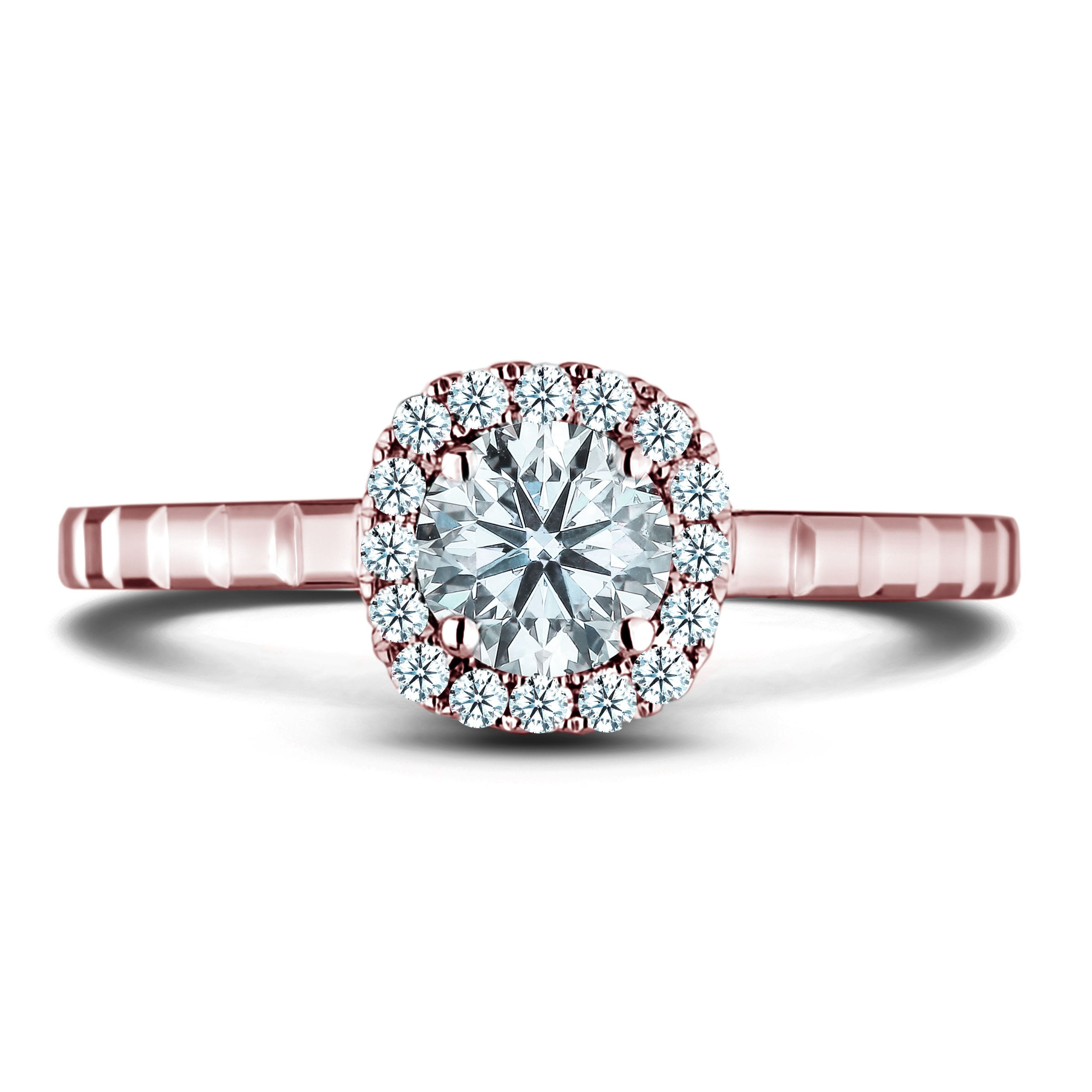 1 2 Carat Diamond Halo Engagement Ring In 14k Rose Gold Lugaro