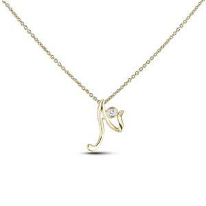 10k yellow gold letter N diamond pendant