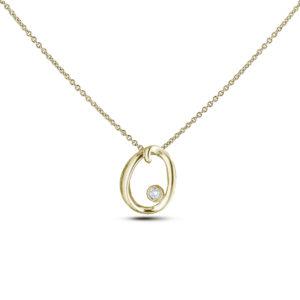 10K yellow gold letter O diamond pendant