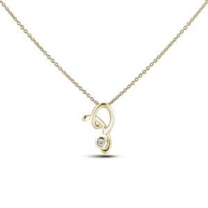 10K yellow gold letter T diamond pendant