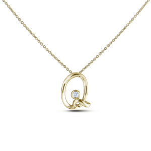 10K yellow gold letter Q diamond pendant