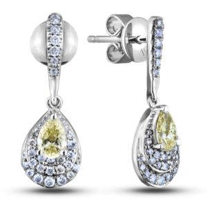 Pear shape diamond halo dangle earrings