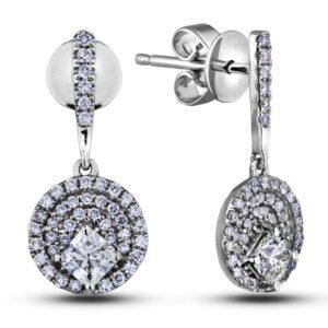 diamond triple halo round frame dangle earrings