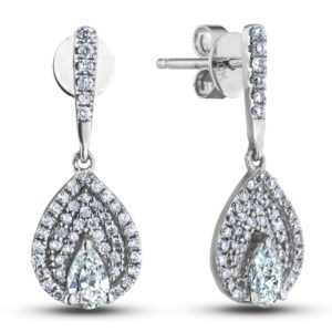 pear shape canadian diamond halo drop earrings