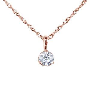 Round diamond solitaire rose gold pendant