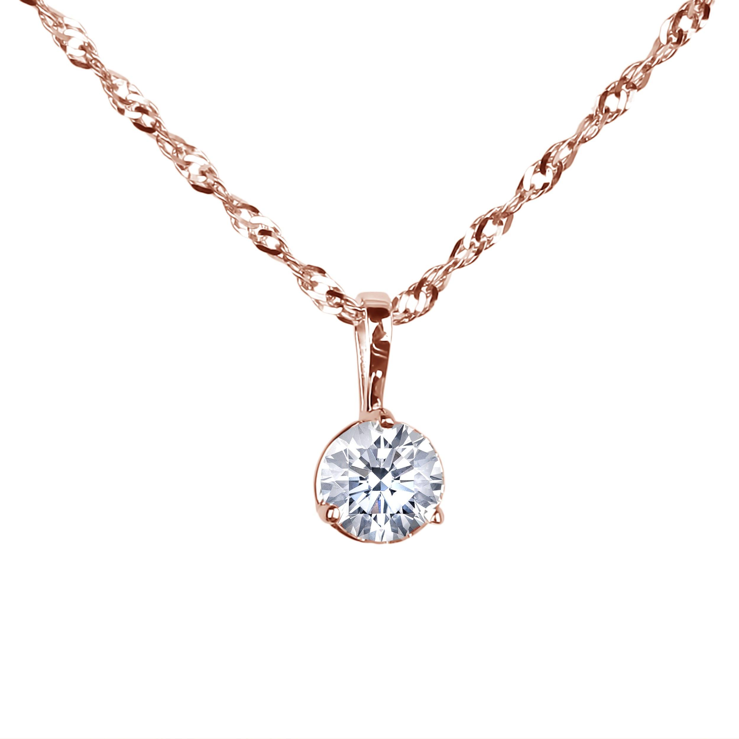4088424b7 Canadian Diamond Solitaire Pendant & Chain In 14K Rose Gold   Lugaro
