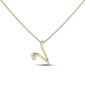 Letter V Diamond Pendant In Yellow Gold