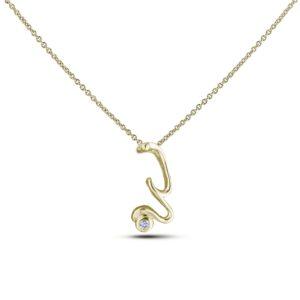 10K yellow gold letter W diamond pendant