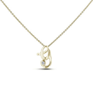 Letter Y diamond pendant in yellow gold