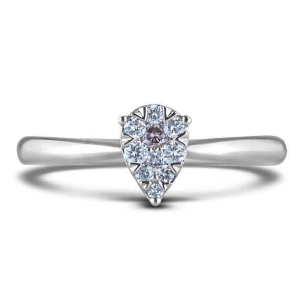 Round Diamond Halo Engagement Pear Shape Ring