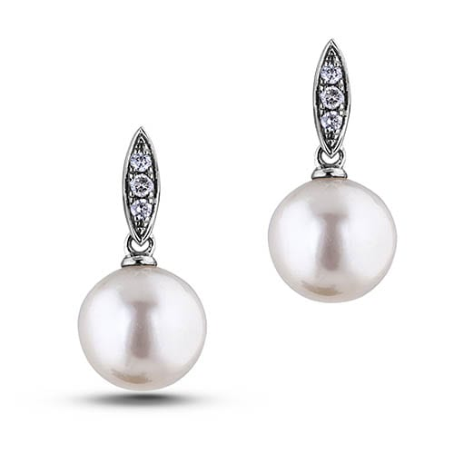 White Pearl And 0 06 Ctw Diamond Dangle Earrings In Gold