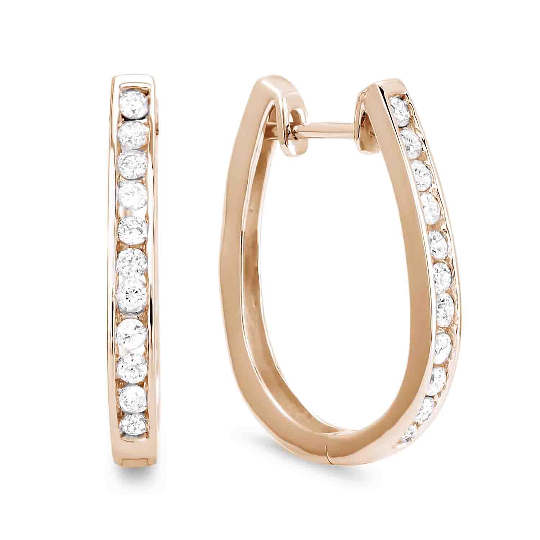 0 36 Ctw Diamond Hoop Earrings In Yellow Gold Lugaro
