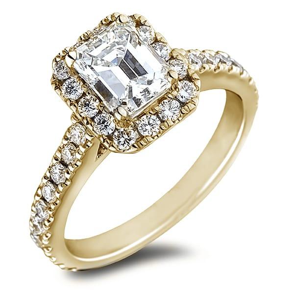 0 43 Ct Gia Emerald Cut Diamond Halo Engagement Ring 14k Yellow Gold